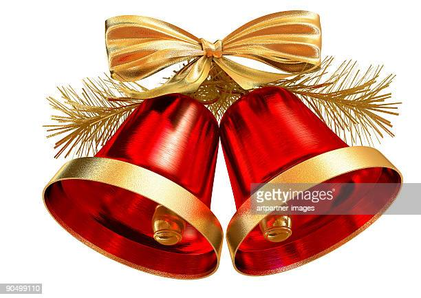 red christmas bells on white background - bell stock pictures, royalty-free photos & images