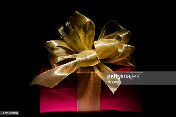 Red Christmas Gift Box with Gold Ribbon, Giving Expensive Present