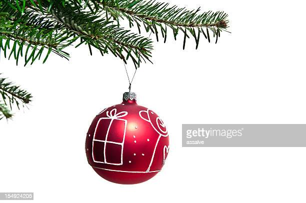 red christmas ornament on the tree
