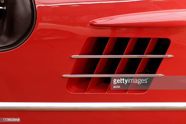 red classic sports car - chrome stock photos and pictures