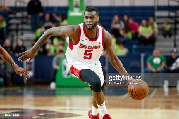 Red Claws' Kadeem Allen brings the ball down court during a home game against Greensboro on Thursday