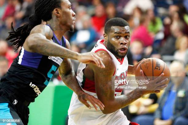 Red Claws' Kadeem Allen charges for the basket during a home game against Greensboro Swarm on Thursday