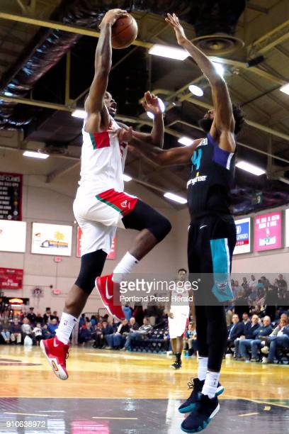 Red Claws' Kadeem Allen goes for a layup during a home game against Greensboro Swarm on Thursday