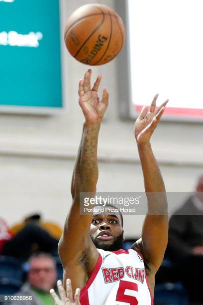 Red Claws' Kadeem Allen shoots from the 3point line during a home game against Greensboro Swarm on Thursday