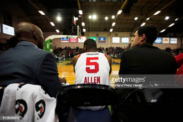 Red Claws' Kadeem Allen takes a seat on the benchduring a home game against Greensboro Swarm on Thursday
