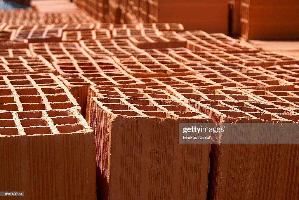 Red Clay Construction Bricks : Stock Photo