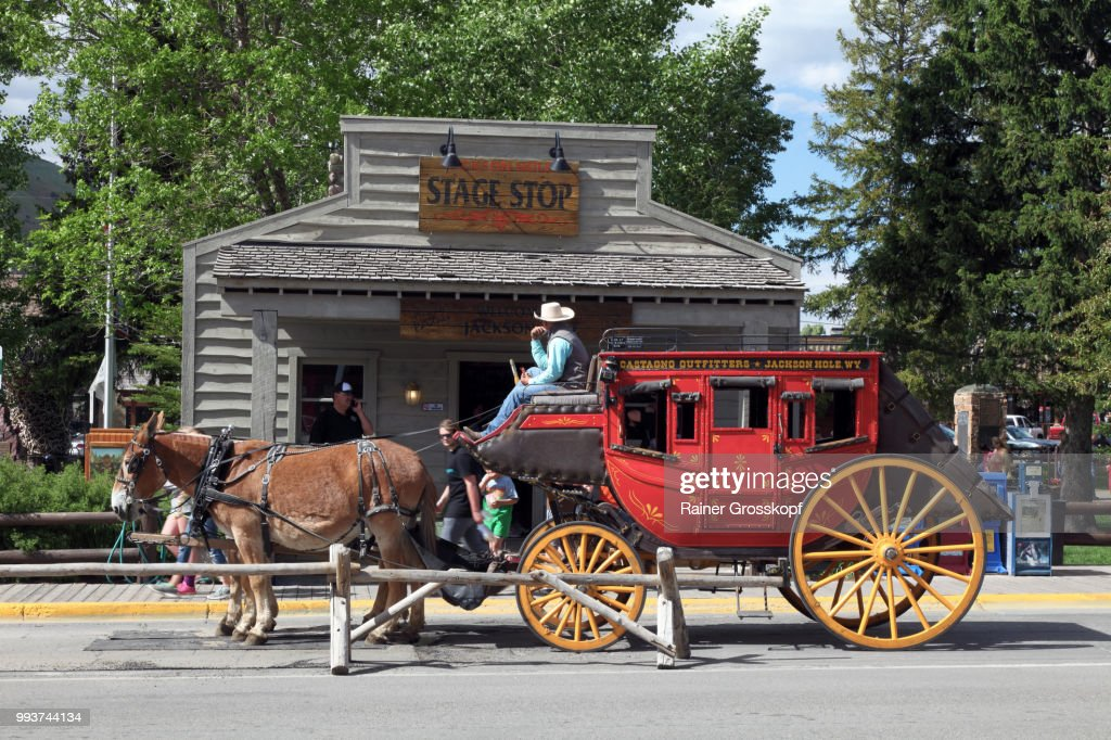Red coach in historic town of Jackson : Photo