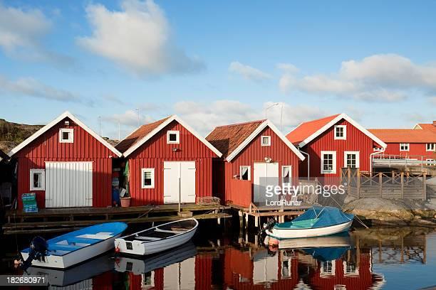 Rouge maisons de la côte