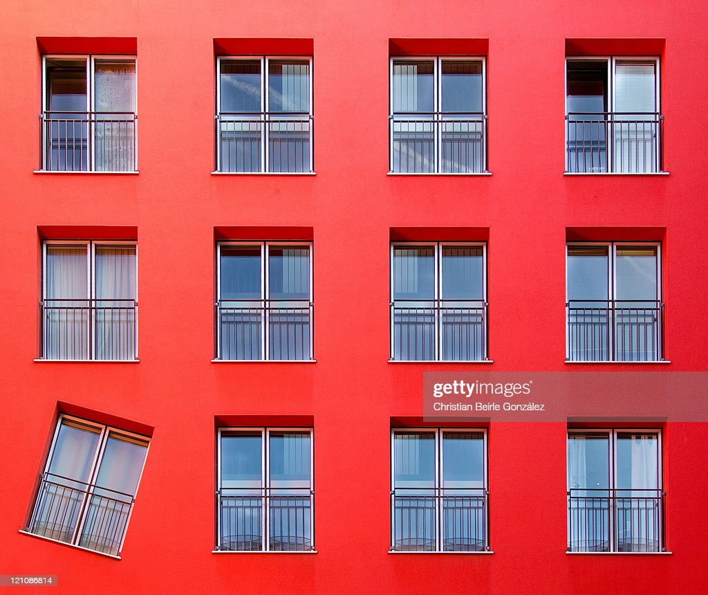 Red color building and windows : Stock-Foto