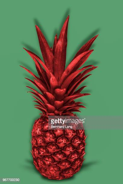 Red colored pineapple on green background