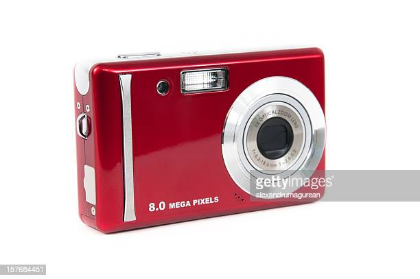 Red compact digital camera isolated on white