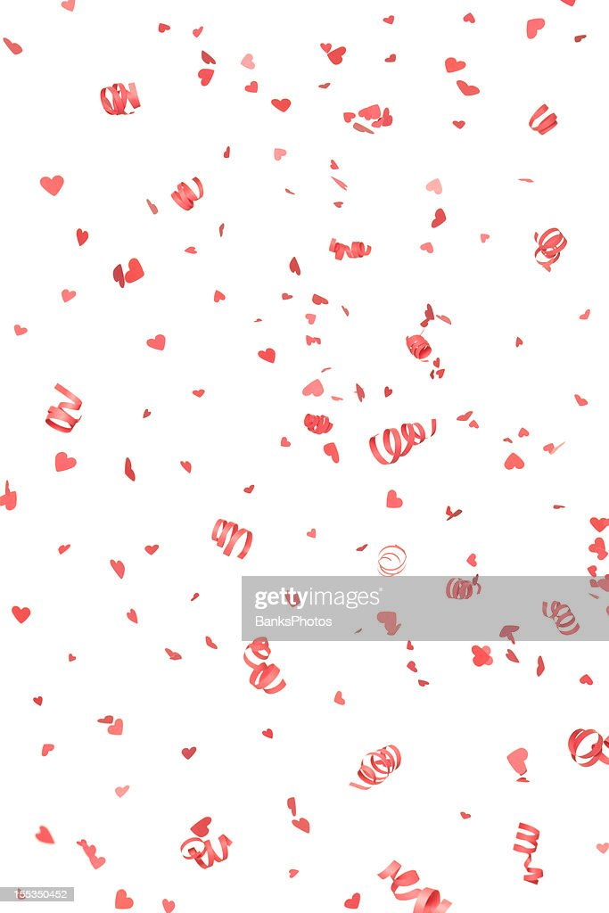 Red Confetti Hearts and Streamers Falling, Isolated on White : Stock Photo