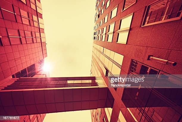 Red contemporary skyscraper perspective - HDR
