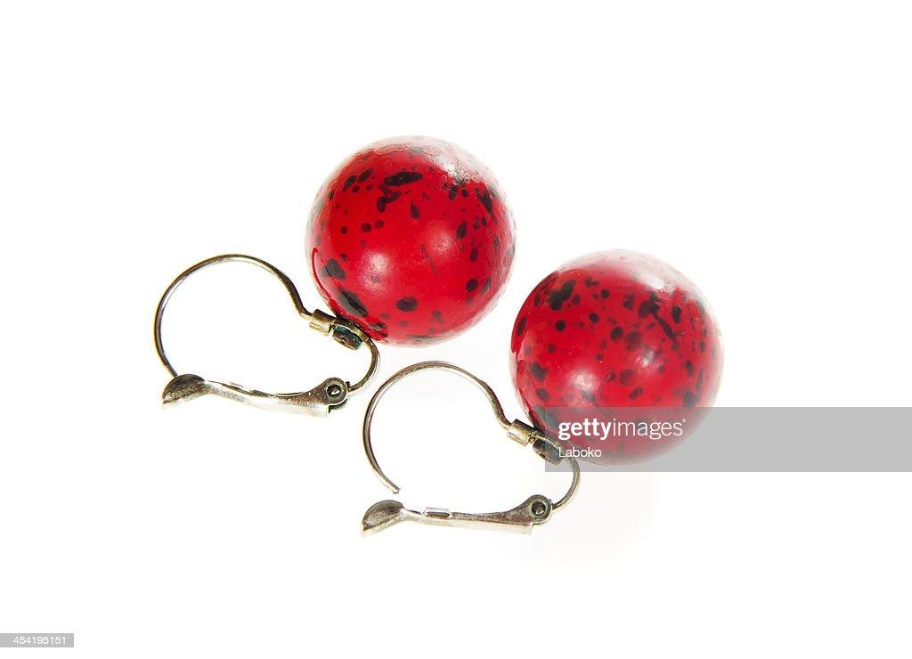 Vermelho brincos de coral : Foto de stock