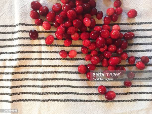 red cranberries scattered across a table - クランベリー ストックフォトと画像