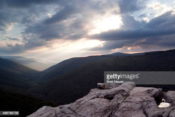 red creek canyon overlook at sunset, dolly sods wilderness, monongahela national forest, west virginia usa - monongahela national forest stock photos and pictures