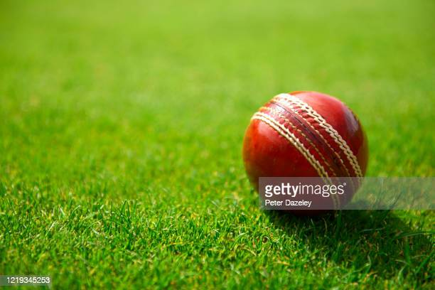 red cricket ball on grass - cricket ball stock pictures, royalty-free photos & images