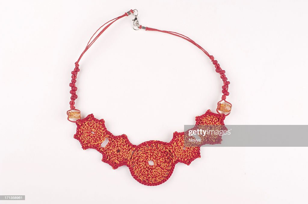 Red Crocheted Necklace : Stock Photo
