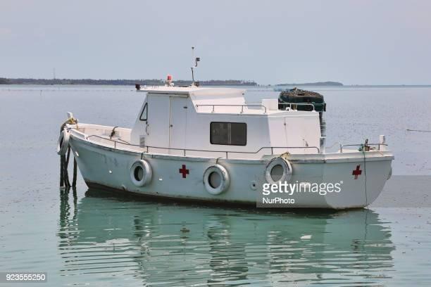 Red Cross boat moored at Nainativu Island in the Jaffna region of Sri Lanka
