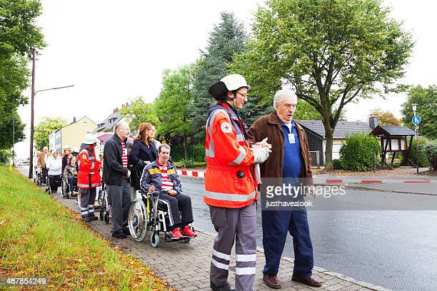 red cross evacuation training - evacuation stock pictures, royalty-free photos & images