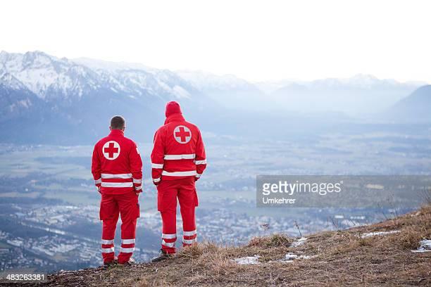 Red Cross helper in the Mountain