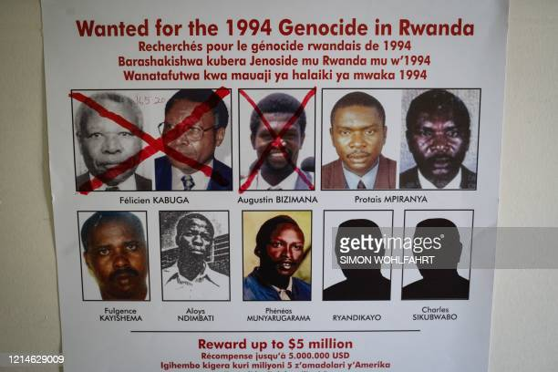 A red cross is seen drawn on the face of Augustin Bizimana one of the mostwanted fugitives from the 1994 Rwandan genocide next to the redcrossed face...