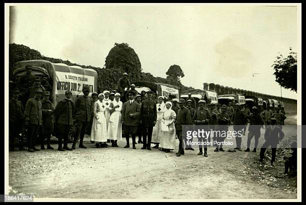 ARMY Red Cross nurses transporting gifts to Second Army 19151918 Gelatine process Rome Central Museum of the Risorgimento