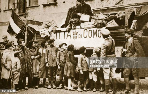 Red Cross supplies for war victims in Como Italy World War I c1914c1918 Artist Unknown