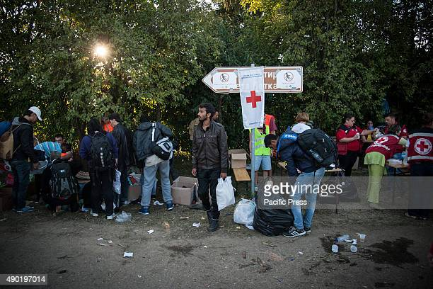 BORDER BAPSKA SYRMIA CROATIA Red Cross volunteers bring relief to the refugees at the refugee camp of Bapska Migrants come to Europe for asylum and...