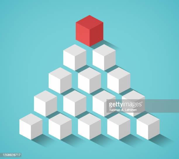 red cube on top followed by many smaller white cubes in a pyramid formation on a turquoise background. - isometric stock pictures, royalty-free photos & images