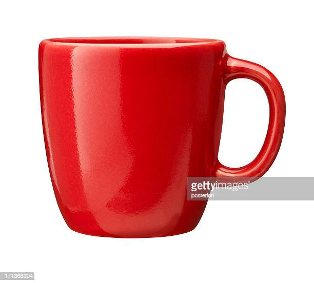 red cup (clipping path included) - rood stockfoto's en -beelden