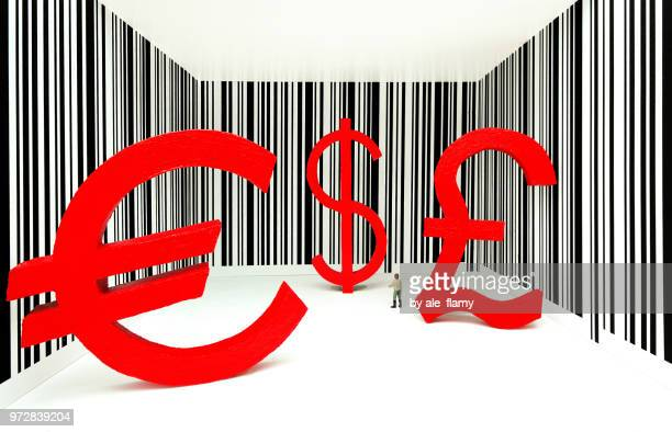 Red currency sign - Dollar, Euro, Pound on a barcode background