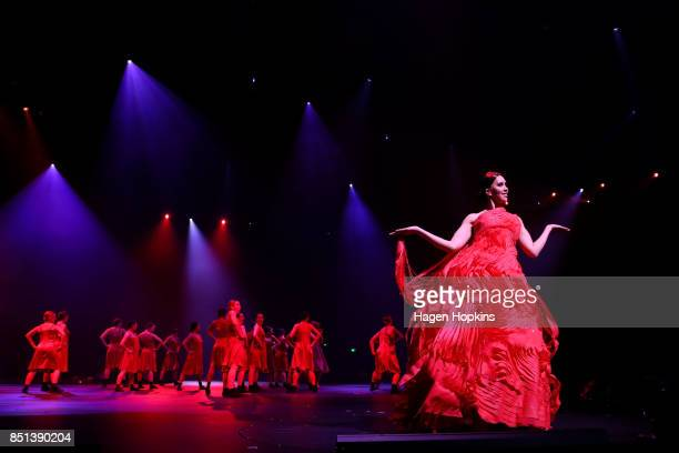 'Red Current' by Noriko Noda of New Zealand is modelled in the Red Section during the World of WearableArt Awards 2017 at TSB Bank Arena on September...