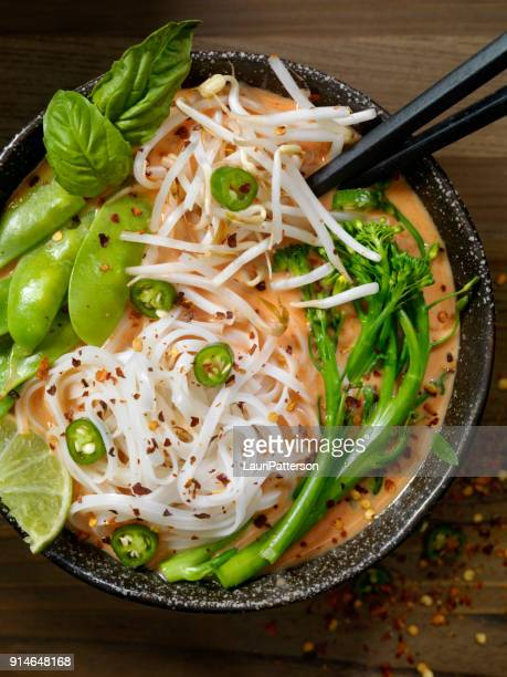 Red Curry Noodle Soup with Broccolini, Bean Sprouts and Fresh Basil,