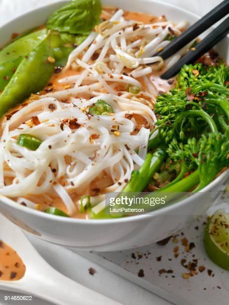 Broccolini、もやしと新鮮なバジル、レッドカレー ヌードル スープ