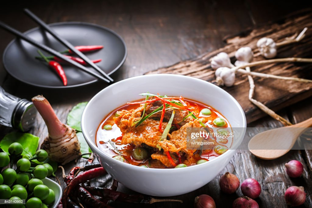 Red curry with pork and coconut milk. : Stock Photo