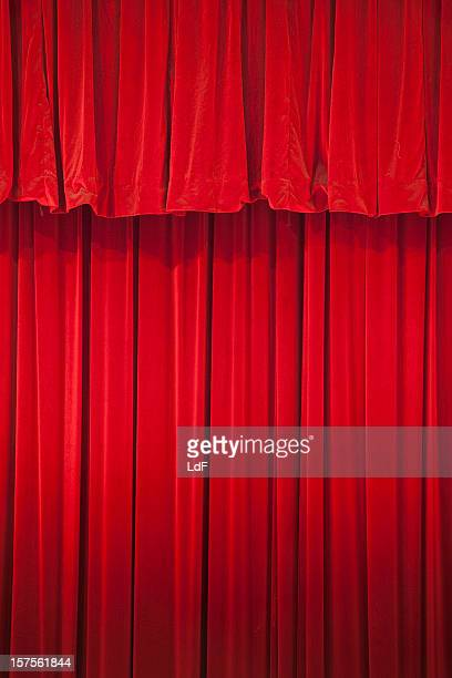 red curtain in a classical theatre - classical theater stock pictures, royalty-free photos & images