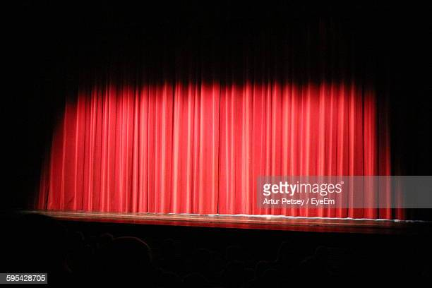 Red Curtain On Empty Stage