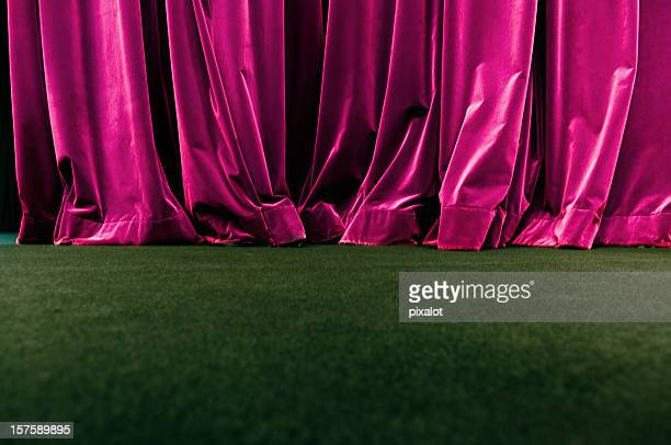 red curtain - stage curtain stock pictures, royalty-free photos & images