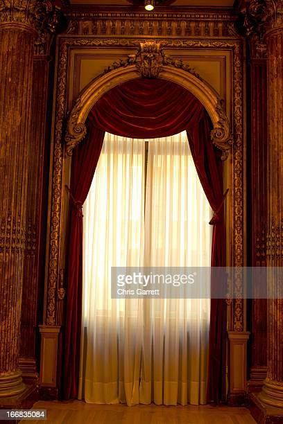 red curtains. - ballroom stock pictures, royalty-free photos & images
