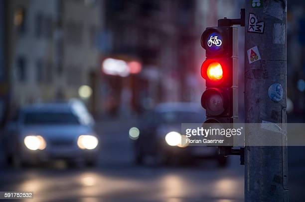 A red cyclists traffic light is captured on August 17 2016 in Berlin Germany
