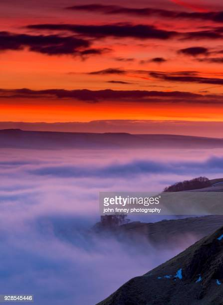 red dawn over peveril castle in the english peak district. uk. - peveril castle stock pictures, royalty-free photos & images