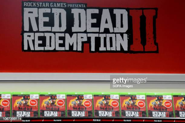 L´HOSPITALET BARCELONA SPAIN Red Dead II Redemption video game sign seen during the Barcelona Games World Fair