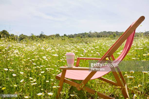 Red deck chair with coffee cup in a flower meadow