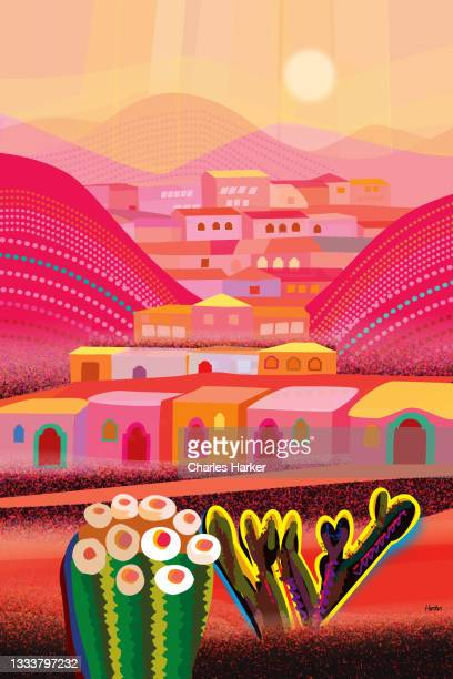 red desert in misty light, barrel cactus and mountain village houses in distance landscape illustration - メキシコ北部 ストックフォトと画像