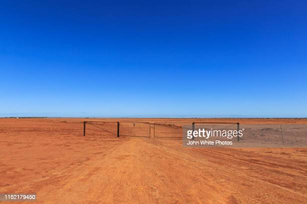 red desert sand during a drought in outback australia. - drought stock pictures, royalty-free photos & images