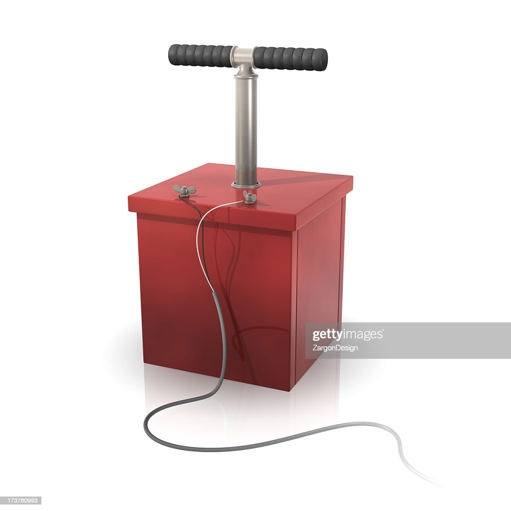 A red detonator on a white background : Stock Photo