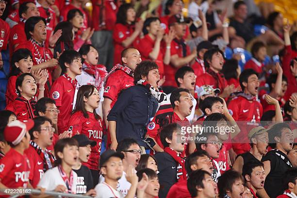 Red Diamond fans cheer during the Asian Champions League match between the Brisbane Roar and Urawa Red Diamonds at Cbus Super Stadium on May 5 2015...