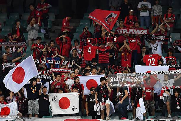 Red Diamonds fans show their colours during the AFC Asian Champions League match between Sydney FC and Urawa Red Diamonds at Allianz Stadium on April...