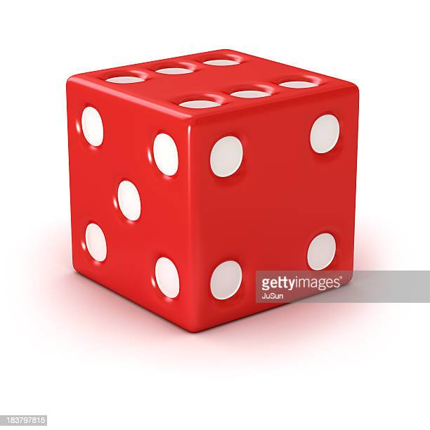 A red die showing the four and five face
